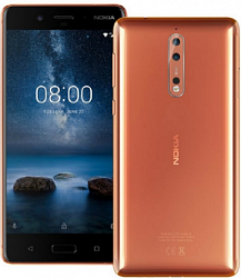 Мобильный телефон  Nokia 8 64GB Dual (4GB RAM) Polished Coper РСТ